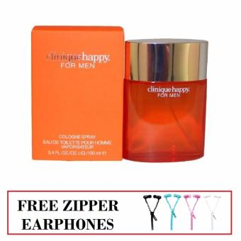 Clinique Happy Cologne Spray Eau De Toilette For Men 100Ml B&DSuper Bass Zipper In-Ear Earphone (Color May Vary)