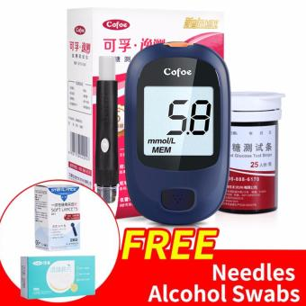 Cofoe accurate intelligent Blood Glucose Meter with 50s Strips And 50s Needles Lancets Free Alcohol swabs 50s