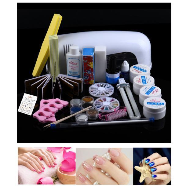 Combo Set Professional Diy Uv Gel Nail Art Brush Buffer Tool Intl