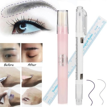 Diotem 3 pcs Microblading Surgical Skin Piercing Eyebrow Marker PenWith Ruler + Magic Eraser Brush Tattoo Remover Scribe Tool - intl - 2