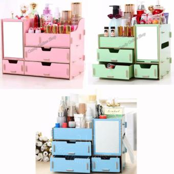 DIY Multifunctional Wooden Cosmetic Desktop Storage Box Make-upOrganizer - intl (Assorted Color) Set of 3