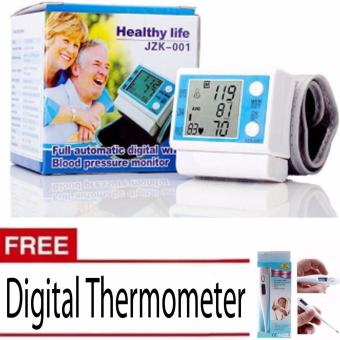Electronic Full Automatic Digital Wrist Blood Pressure Monitor WithFree Thermometer (white)