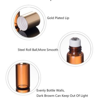 EsoGoal 5ml Amber Glass Roll-on Bottles With Stainless Steel Roller Ball for Essential Oil,Aromatherapy,Perfumes and Lip Balms,Set of 6 - intl - 3