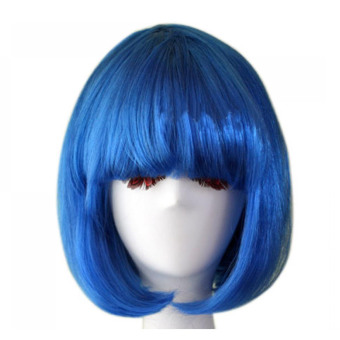 Fashion Cosplay Party Christmas Short Straight Hair Wigs Blue