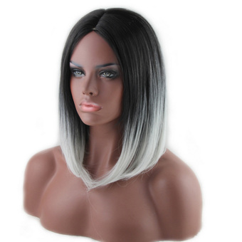 Fashion Sexy 45cm Medium Long Straight Hair Wigs Full Hair Wig forCosplay Anime Party Halloween Christmas Ombre Black toWhite.......................