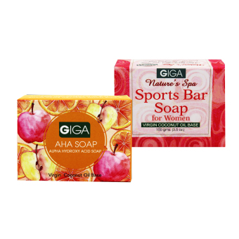 Giga Assorted Soap (AHA Soap/Sports Bar for Women) 100g Set of 2