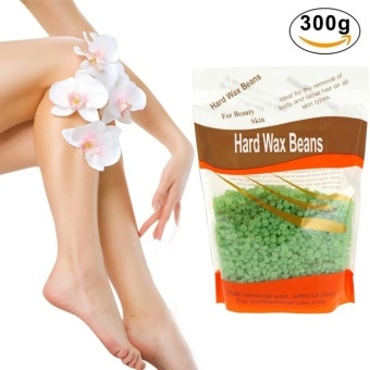 Green-Tea Depilatory Pearl Hard Wax / Brazilian Granules Hot FilmWax Bead For Hair Removal ,10ounce/300g + FREE Wiping Sticks - intl