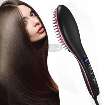 Hair Straightener Professional Automatic Straightening Flat Ironwith Salon 3D Ceramic Bristles LCD Display Electric Straight HairComb Brush - intl