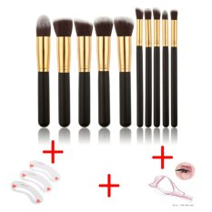 High quality 10Pcs Makeup Brush Set Cosmetic Blending PencilBrushes + Stencil for Eyebrows Makeup Clear Durable