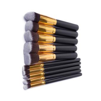 HKS Make Up Brushes 10-piece Set (Black and Gold) (Intl)