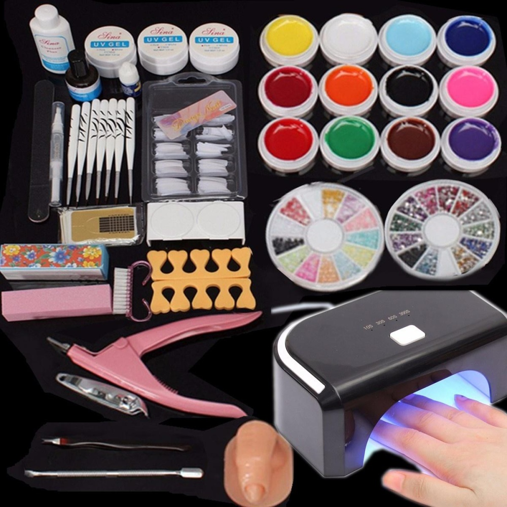 HOT Sale 12 Color UV Gel Nail Polish Nail Art Tips Glue Brush LED ...