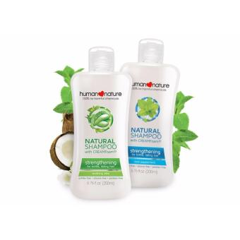 Human Nature Natural Shampoo Cool Peppermint & Aloe Vera for Brittle and Falling Hair Set of 2 (200ml each)