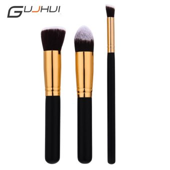Harga 3pcs / Set Make-up Brush High Quality White Brown Hair and Black Handle - intl