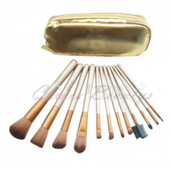 Harga Naked 12pcs Make Up Brush Set With Makeup Bag (Gold)