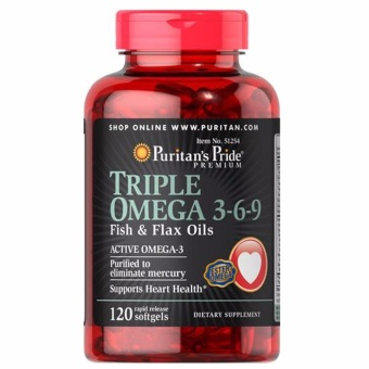 Harga PURITAN'S PRIDE #51254 Triple Omega 3-6-9 Fish and Flax Oils, 120 Rapid Release Softgels