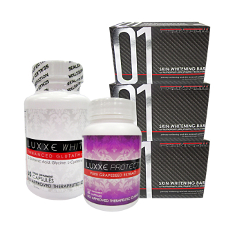 Luxxe White Enhanced Glutathione Capsules 775mg bottle of 60 with Luxxe Protect Pure Grapeseed Extract Capsules 500mg bottle of 30 with 01 Skin Whitening Bar set of 3