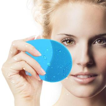 Harga Electric Face Cleanser Vibrate Waterproof Silicone Cleansing Brush Massager Facial Vibration Skin Care Spa Massage(Blue) - intl