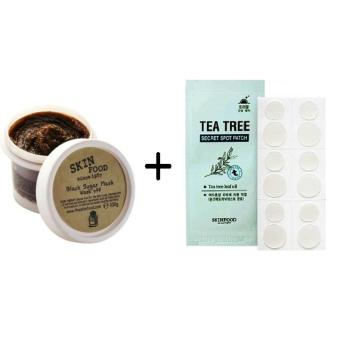 Harga Korean Cosmetics Skinfood Black Sugar Mask Wash Off + Tea Tree Spot Patch