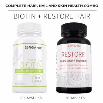 HAIR, NAIL & SKIN HEALTH SOLUTION, BIOTIN & RESTORE COMBO, ALL NATURAL, GMO-FREE, ZERO CHEMICALS Price Philippines