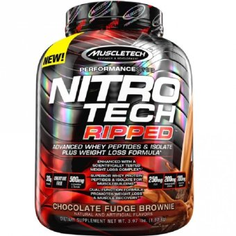 Harga Genuine Sealed MuscleTech Nitro-Tech Ripped Powder, Advanced Whey Protein Peptides & Isolate Plus Weight Loss Fat Burner Formula, 4lbs Chocolate Fudge Brownie