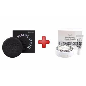Korean Cosmetics April Skin Magic Stone (Black) with Secret Kiss Face Coating Angel Cushion with Refill Price Philippines