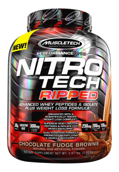 Harga MuscleTech NitroTech Ripped Powder, Advanced Whey Protein Peptides& Isolate Plus Weight Loss Formula, 3.97 lbs