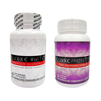 Luxxe White Enhanced Glutathione Capsules 775mg bottle of 60 with Luxxe Protect Pure Grapeseed Extract Capsules 500mg bottle of 30