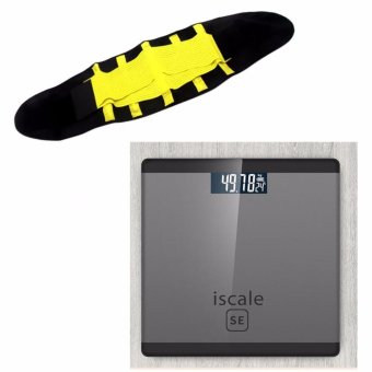 Iscale SE Digital Scale High Accuracy Weight Scale (Black-Gray) With free Hot Shapers Adjustable Waistband Hot Belt Power Price Philippines