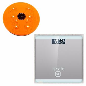 Iscale SE Digital Scale High Accuracy Weight Scale (White-Gray) With free Waist Twisting Disc Healthy Massager (Orange) Price Philippines