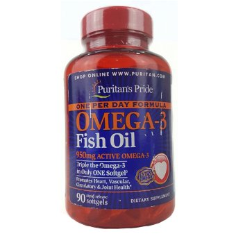 Harga PURITAN'S PRIDE #32948 Omega-3 Fish Oil 950mg Active Omega-3 (One Per Day Formula), 90 Rapid Release Softgels - PP32948