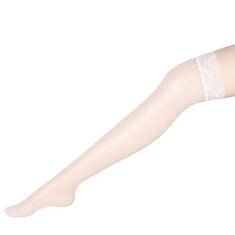 Cyber Lace Lingerie Fishnet Thigh High Stockings (White) Price Philippines