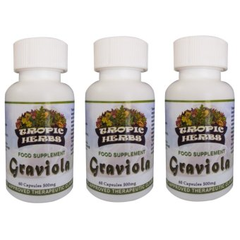 Harga Tropic Herbs Graviola (Guyabano) 100% Pure Leaf Powder 60 Capsules 500mg Set of 3