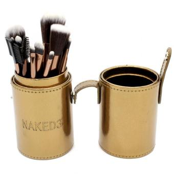 Harga 12 Pieces Professional Make up Brush Set Applicator with Cup Leather Holder Case (Gold)