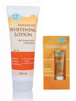 Harga Diamond Advanced Whitening Lotion with Orange Peel and L - Glutathione 200ml with Sunblock (Sun Screen) Gel 20g, Bundle of 2