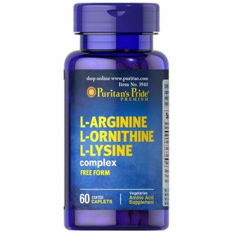 Harga Puritan's Pride L-Arginine L-Ornithine L-Lysine 60 caplets Set of 1 Bottle