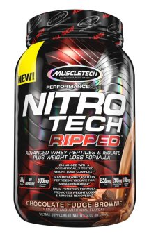 Harga MuscleTech NitroTech Ripped Powder, Advanced Whey Protein Peptides & Isolate Plus Weight Loss Formula, Chocolate Fudge Brownie, 2 lb