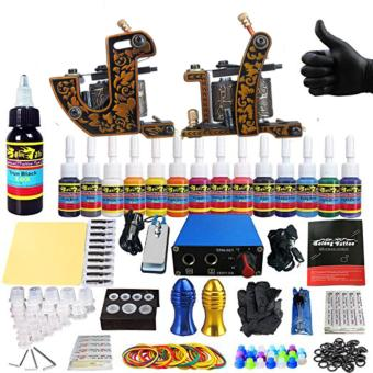 Harga Complete Tattoo Kit for Beginner Starter 2 Pro Machine Guns 14 Inks Power Supply Needle Grips Tips (model#pro-14inks)