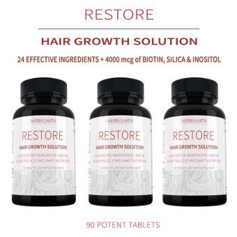Restore Hair Growth Solution For Longer & Stronger Hair, 23 All Natural Ingredients w Biotin, Silica & Inositol - 3 Bottles Combo Price Philippines