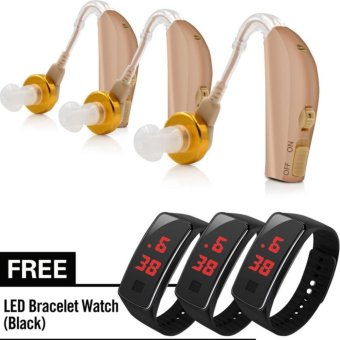 Harga KingDo Rechargeable Behind Ear Hearing Aids Audiphone with Free LED Watch for Kids set of 3