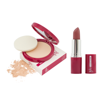 Belo Cosmeticare Face Powder (Light) with Lipstick (Muted Brown) Price Philippines