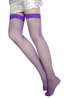 Cyber Lace Lingerie Fishnet Thigh High Stockings (Purple) Price Philippines