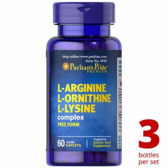 Puritan's Pride L-Arginine L-Ornithine L-Lysine 60 caplets Set of 3 Bottles Price Philippines