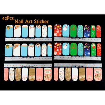 Jo.In 42Pcs Christmas Nail Art Sticker Full Wrap Patch Decal For Fingers Natural/False Nails - picture 2