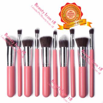 Kabuki 10 Pcs Professional Soft Make Up Brush Set (Pink Silver)