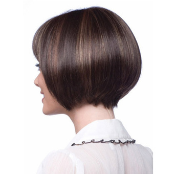 La Vie Sexy Bob Fluffy Neat Bangs Short Natural Full Women's Cosplay Wigs(Brown) - 2