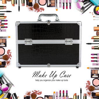 Large Make Up Case for Make Up Tools Lockable Black ContainingStorage Box - intl