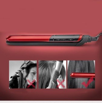 LCD Display 2-in-1 ceramic coating Hair straightener comb hair Curler beauty care Iron healthy beauty-Red - 3