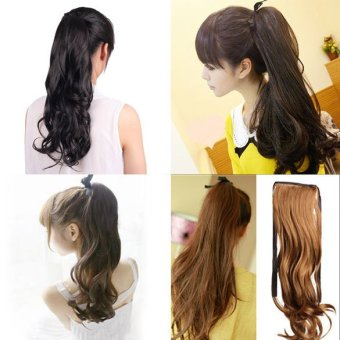 Long Curly Girl Big Wavy Ponytail Wigs Pony Hair Hairpiece Extension Black