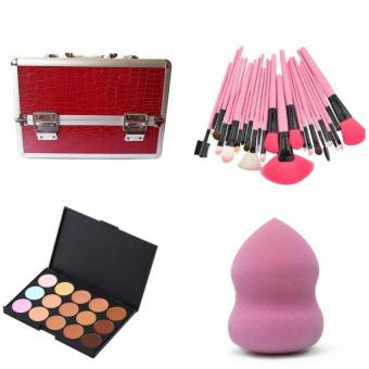 Make-Up Artist (Make Up Box Red&24 Pcs Brush Pink&15 concealer Palette&Blender Sponge) set of 4