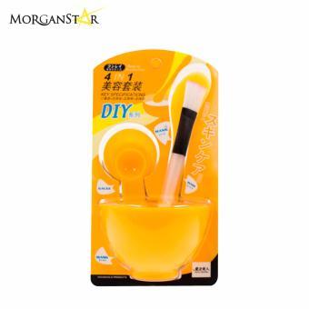 Makeup Beauty DIY Facial Face Mask Bowl Brush Spoon Stick Tool Set(Yellow) - 2